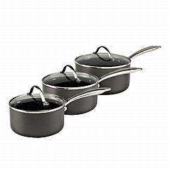 Sainsburys Different by design hard anodised 3 pieces pan set £17 INSTORE