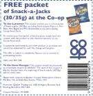 Free packet of Snack-a-Jacks at any Co-op Food Store