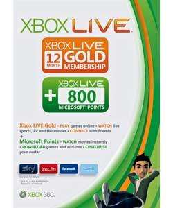 Xbox Live 12 Months Gold Subscription Plus 800 MS Points - £27.48 @ Asda (Instore)