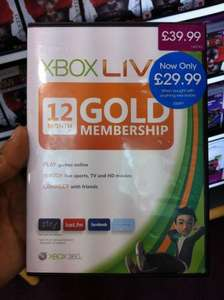 Xbox Live 12 Months Gold Subscription - £29.99 @ Game (Instore)