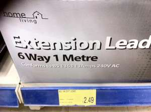 6 Way Electric Extension Lead - £2.49 @  B&M Homestore