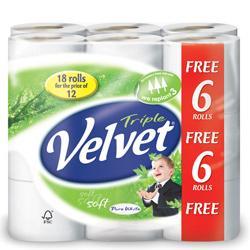 Triple Velvet Toilet Roll Pack of 18 @ £5.99 (2 packs @ £5 each) at Viking Direct