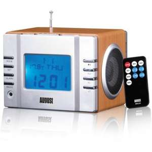 August MB300 Mini Wooden MP3 Musicbox With FM Clock Radio - £14.99 @ Play