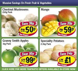 Lidl - Mushrooms 250g 50p/ Mango 59p/ Granny Smith Apples 1kg 99p/ Specialty Potatoes 2.5kg £1
