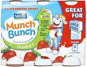 Nestle Munch Bunch Drinky + Strawberry (6 x 90g) £1 at Tesco