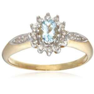Ladies Aquamarine & Diamond Cluster Ring, 9 Carat Yellow Gold set with 0.15 Carat Total Diamond Weight - £70 @ Amazon