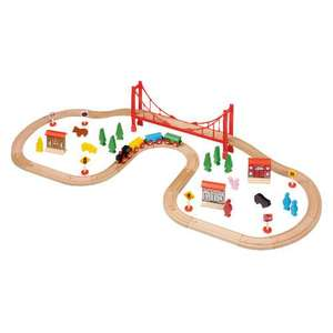 Tesco Little Steps Wooden 56 Piece Train Set - Now £8 @ Tesco Direct