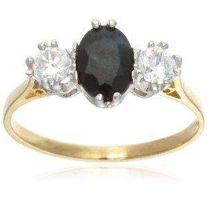 9ct Yellow Gold AMR322494 Ladies Sapphire & Cubic Zirconia 3 Stone Ring (Size O) - £25.72 @ Amazon
