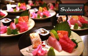 10 plates of sushi for two to share at Sakushi Sheffield for £13.50 @ KGB Deals