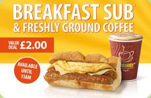 "6"" Breakfast Sub & Freshly Ground Coffee - £2 (before 11am) @ Subway"