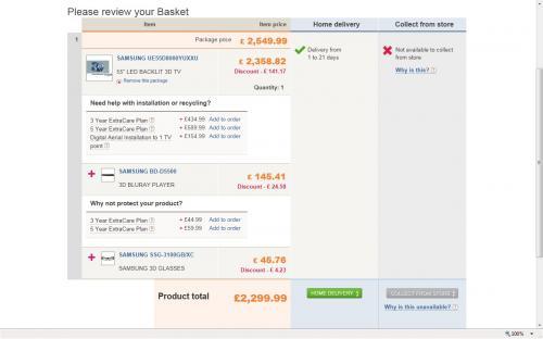 "SAMSUNG 55"" LED backlit 3D TV UE55D8000YUXXUUE55D8000 & 3D BluRay Player BD-D5500 & 3D Glasses SSG-3100GB £2299.99 @ Comet + possible quidco"