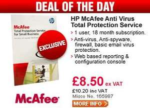 HP Mcafee Anti Virus 18 month  1 User License - Only £10.20 (deal of the day)  @ Misco