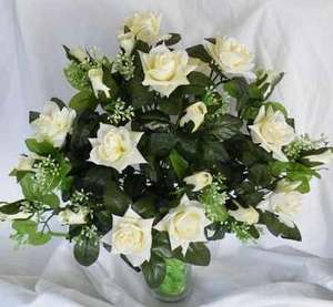 Ivory Silk Luxury Wedding Roses & Foliage £12.40 delivered @ Florist and Garden Supplies