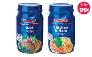 Princes Pastes all varieties any 3 jars for 99p @ Lidl's!  normally 69p each