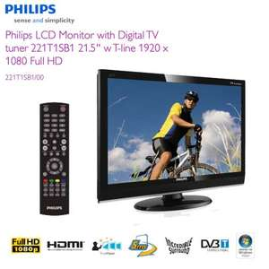 Philips 54.6 cm/21.5 inch Full HD LCD monitor and TV with DVB-T, HDMI & SCART - £149.95 @ iBood