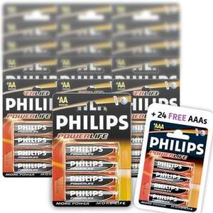 Philips Powerlife Alkaline AA Batteries (Pack of 60) + 24 AAA Batteries for FREE £7.50(with Code) & £2.49 P&P @Dealtastic