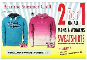 2 for 1 on male and female hoodies and sweat tops at GET THE LABEL