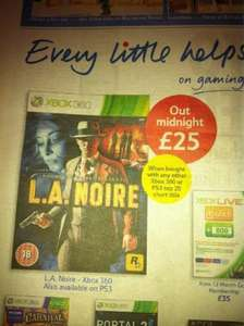 L.A. Noire £25 when bought with top 20 chart title @ Tesco (from midnight)