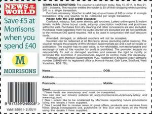 £5 off £40 @ Morrisons in News Of The World