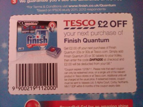 Finish Quantum Regular 20 £1.37 @TESCO