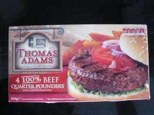 Thomas Adams 100% Beef 4 Quarter Pounders 454g are Buy One Get One FREE ,£1.99 @ Sainsburys
