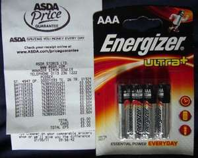 Energiser Ultra+ AAA Batteries 4 Pack £0.50 @ Asda
