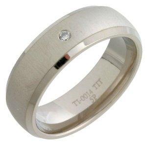 Mens Titanium Wedding Ring, Beveled Edge Shape set with Single Small Diamond Detail, £19.48@ Amazon UK