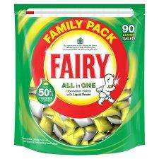 Fairy Allin One Dishwasher Lemon 90'S SPECIAL PURCHASE £10.50 (approx 12p each tablet) @ TESCO instore and online