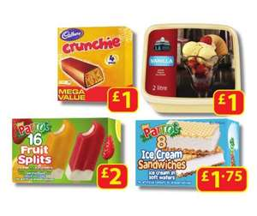 EXPIRED. 4 pack of Cadburys Crunchie Icecream bars @ Farmfoods only 99p