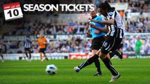 6,500 Newcastle utd Season tickets For £100 each (Junior) 10th june.