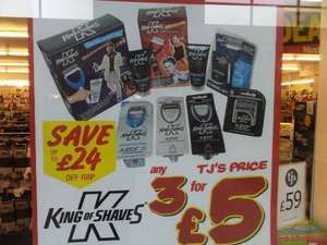King of Shaves Range, Any 3 Items for £5 at TJ Hughes including 8 packs of Blades!!