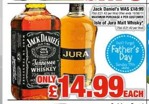 Jack Daniel's whiskey or Isle of Jura whisky 70cl bottles £14.99 each Netto