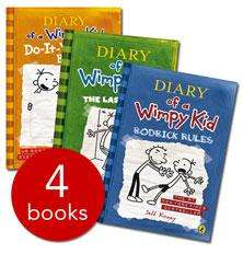 DIARY of a Wimpy Kid by Jeff Kinney (Set of 4 books) £5.99 at The Book People