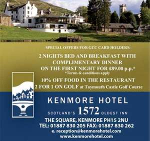 B&B Two-night Scottish Highlands break for 2 at Kenmore Hotel £99 @ KGB deals + Free  Bottle of Wine on arrival