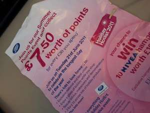 Boots Summer Event £7.50 worth of points for every £30 spent 21/06/11
