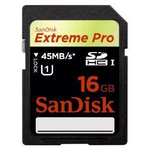 SanDisk Extreme Pro SDHC UHS-I Memory Card 16GB, 45Mbps £48.99 @ Amazon