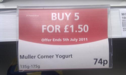 Muller Corner Yoghurt 5 for £1.50 @ The Co-op instore