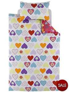 Heart print double duvet set now £3 @ very.co.uk
