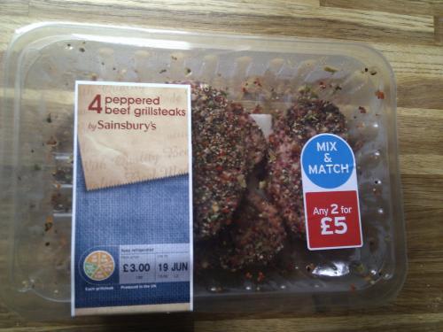 Peppered Beef Grillsteaks x4 - Sainsbury's - £1