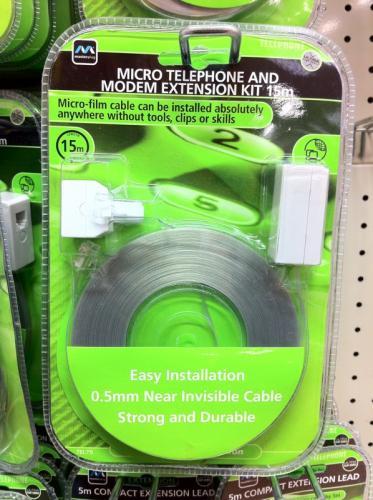 Ultrathin Telephone & Modem Extension Kit 15m £1 @ Poundland