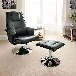 Black Leather Chair and Foot Stool £99@ ASDA direct