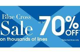 Debenhams Blue Cross Sale - upto 70% off + 4% quidco