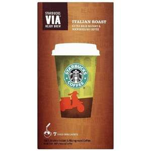 Starbucks VIA Italian Roast Coffee sachets £1.50 (Pack of 7) @ Sainsburys