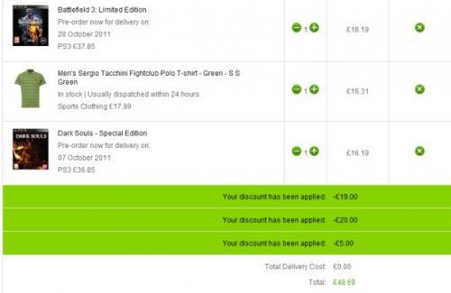 Battlefield 3 & Dark Souls & item of clothing for £48.69 at ZAVVi
