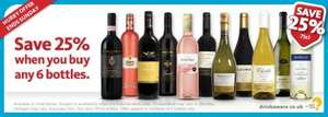 25%  off when you buy six bottles of wine at Morrisons