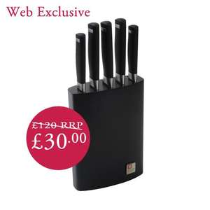 Richardson Sheffield Laser 5 piece Knife Block Set RRP £120.00 now £30.00 pp £5 or free on £40 spend  @ Beales