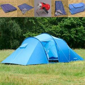 Campri Escape 4 Family Tent Pack (4 man tent, 1 double + 2 single sleeping bags, 2 double airbeds & battery powered lantern) - £69 @ SportsDirect