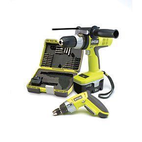 Ryobi One+ CDI18SD4 18V Combi Drill & 4V Li-Ion Screwdriver Kit £99.99 @ Screwfix