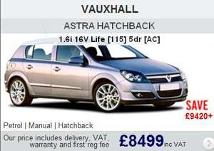 Brand New VAUXHALL ASTRA HATCHBACK 1.6i 16V Life [115] 5dr [AC] £8499 Delivered @ New-Car-Discount.com