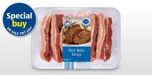 British Pork Belly Strips £1.99 per pack (500g) @ Aldi